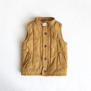 Genuine kids/Oshkosh plaid lined tan vest  EUC 2T